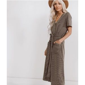 🆕 Olive Green Stripe Midi Dress with Buttons